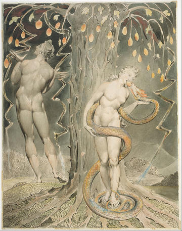 william blake  the temptation and fall of eve illustration to miltons paradise lost  google art project