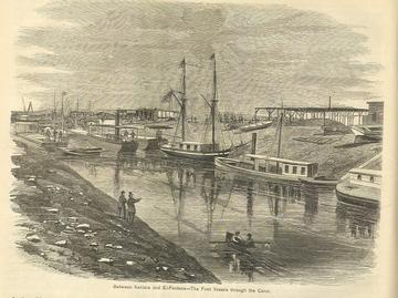 Engraving of the Suez Canal between Kantara and El-Fedane