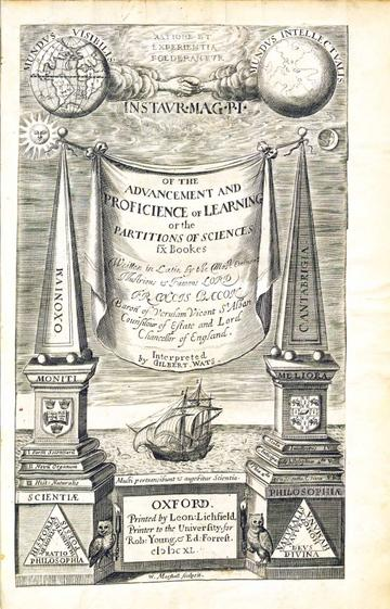 Francis Bacon's Advancement and Proficience of Learning Oxford 1640