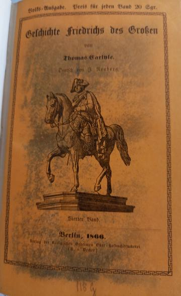 volks ausgabe of thomas carlyles frederick the great